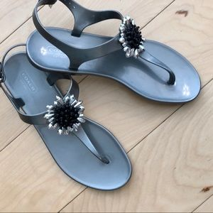 New Coach Pearl Gray Jeweled Sandals 9B